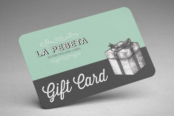 Tarjetas virtuales de regalo para almorzar o comprar productos en la proveeduria de La Pebeta